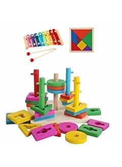 Mashotrend Ahşap Geometri Vidalama Oyuncağı + Selefon + Tangram - Bul Tak Ahşap Gelişim Oyuncağı -Ahşap Oyuncak